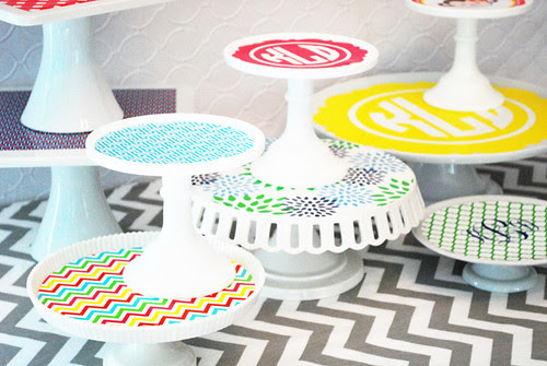cake plate clings by wh hostess - preppy patterns
