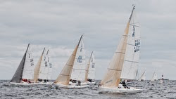 J/80 sailboats- sailing off start in Kiel, Germany