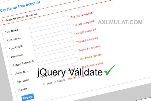 Creating Simple jQuery Validation in Registration Form - AxlMulat.com