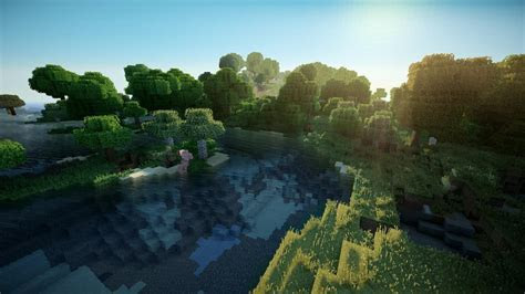 Water sand trees forest grass minecraft pigs realism