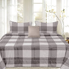 Sweet Home Collection Buffalo Plaid Reversible Down Alternative Comforter Set, Women's, Size: King, Silver