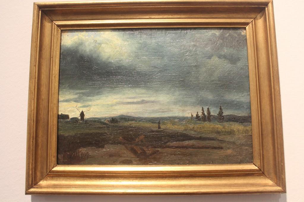 """Carl Fredrik Hill: """"Slett med mølle"""". Olie på lærred klæbet på træ.24,5 x 32,5"""
