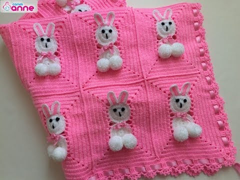 فيديو شرح طريقة عمل بطانية الارنب اطفال سهله الخطوات بالكروشية Rabbit Baby Blanket Making كروشيه