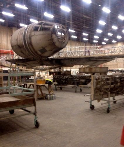 The Millennium Falcon undergoes construction for STAR WARS: EPISODE VII.