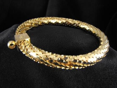Vintage BRACELET Signed Whiting And Davis GOLD Mesh Lamee Bangle Bracelet 1970s 20.00 o.b.o.