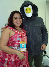 DCL editor Camile Mendrot with Johnny Online at the Sao Paolo bookfair, Brazil edition launch (Hibridos), August 24 2008