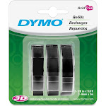 """DYMO Embossing Tape Labels, 0.374"""" x 10' Roll, Black"""