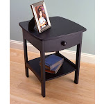 Winsome 20218 Black Beechwood END TABLE/NIGHT STAND WITH ONE DRAWER