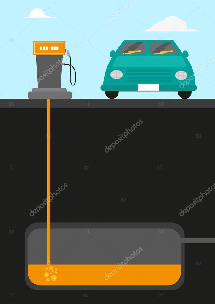Gasoline Pumping Station diagram cutout with a car facing front ...
