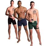 Variety 3 Pack of The Large Stashitware Men's Hidden Stash Pocket Underwear, 100% Cotton Black, Blue & Green