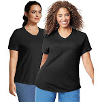 JMS Cotton Jersey V-Neck Short Sleeve T-Shirt, 2 Pack - OJ0912 - Black/Black