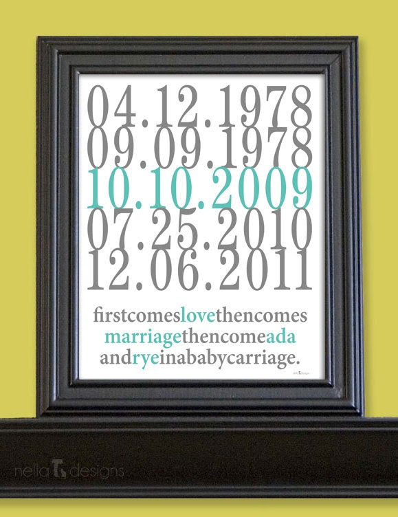 Subway Art Custom Dates - 8x10 - Love and Marriage - Family