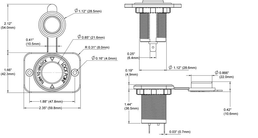 12 Volt Dash Socket Blue Sea Systems