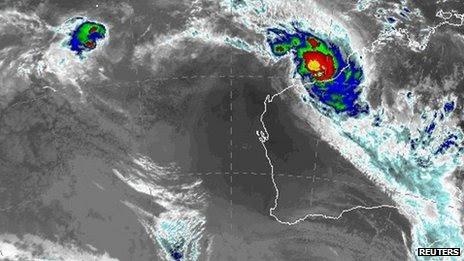 Satellite image showing Cyclone Rusty near the Pilbara region of western Australia