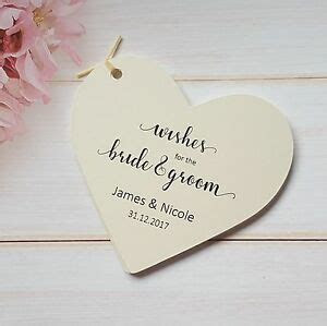 10 Personalised Large Wedding Wish Tree Heart Tags, Wishes