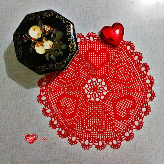 Knitted red cotton round napkin in Boho style for the living