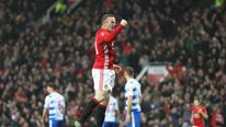 Wayne Rooney of Manchester United celebrates as he equals Sir Bobby Charlton's all-time goal-scoring record