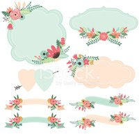 32565596 vintage flowers frames and banners set