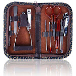 Shany 10 in 1 Chic Manicure/Pedicure Kit with Brown Case - Steel - Burlesque