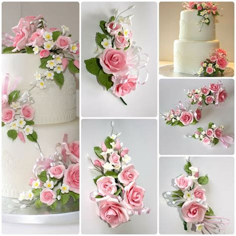 open rose spray pink sml sugar flowers cake topper