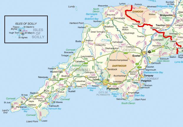 Map Of Cornwall And Devon Devon Cornwall Map   GOOGLESAND
