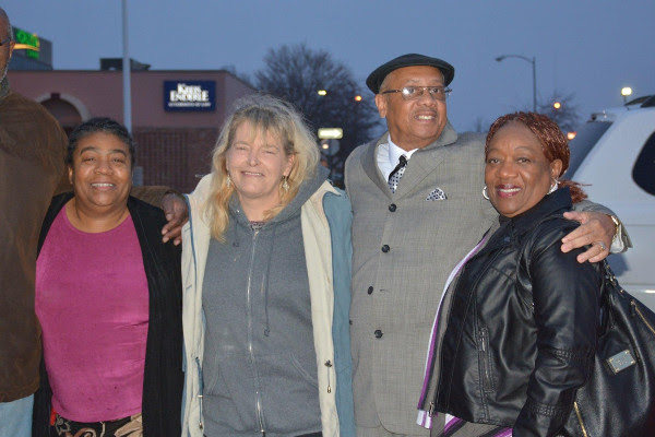 Rev. Pinkney and supporters outside Berrrien County Courthouse on the day of his sentencing. Left to right: Marcina Cole, Pati Heinz, Rev. Pinkney, Dorothy Pinkney. PHOTO/MARCINA COLE