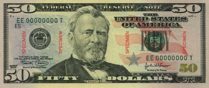 American fifty dollar bill.