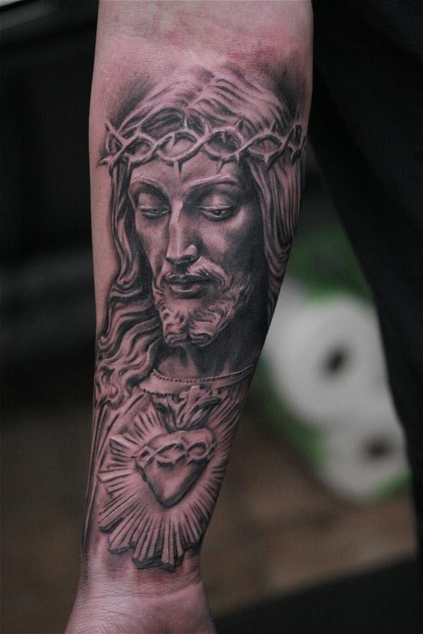 Forearm Grey Ink Jesus Tattoo