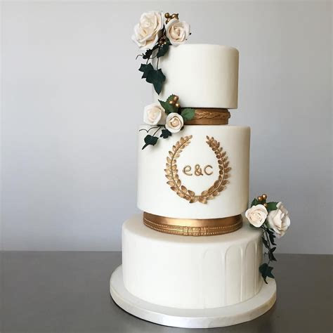Ancient Greece / Greek themed three tier wedding cake with