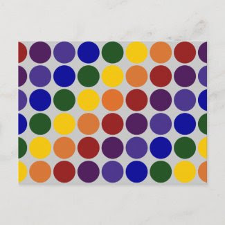 Rainbow Polka Dots on Grey Post Cards