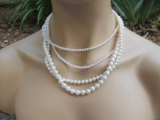 Bridal Pearl Jewelry Set Multi Strand Necklace White by AWRdesigns