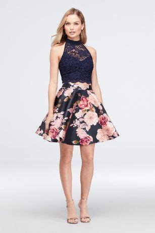 High Neck Lace and Printed Mikado Two Piece Dress   David