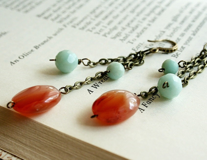 Carnelian and Amazonite Brass Dangles, Orange and Blue, Seafoam - sweetjanedesigns