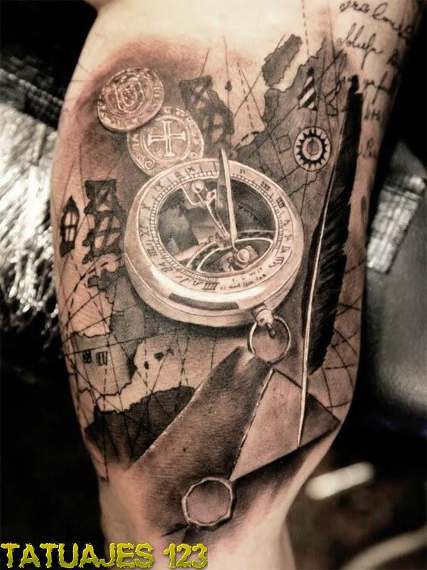 La Brújula Con Su Mapa Tatuajes 123