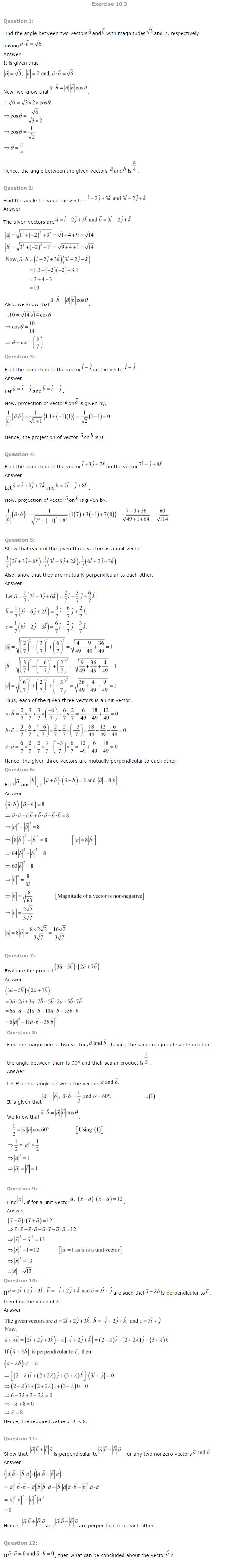 NCERT Solutions for Class 12 Maths Chapter 10 Vector Algebra ex10.3