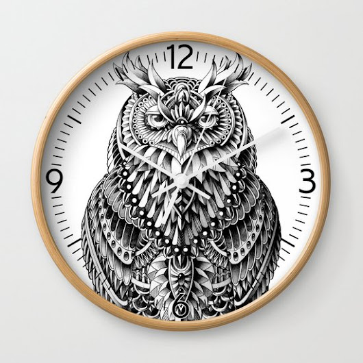 Great Horned Owl Wall Clock by BIOWORKZ | Society6