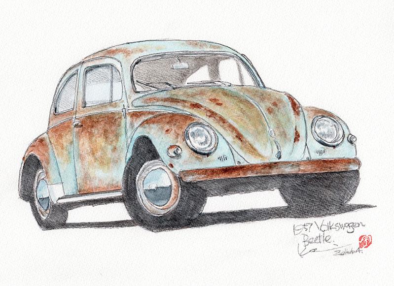 Volkswagen Beetle 1957 カーイラスト工房studio04
