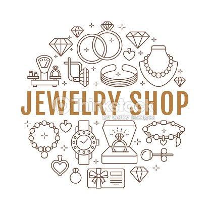 宝石店ダイヤモンド アクセサリー バナー イラストです金の婚約指輪宝石