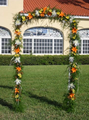 This beautiful arch is created for the wedding ceremony and is decorated in