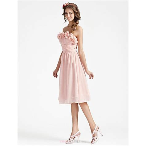 A line Strapless Knee length Chiffon Bridesmaid Dress With
