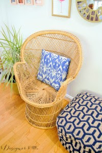 wicker low back peacock chair