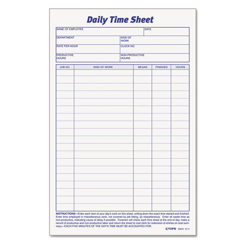 TOP30041 Daily Employee Time and Job Sheet; Employee Time Card ...