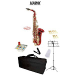 Hawk Red Alto Saxophone School Package with Case, Reeds, Music Stand and Cleaning Kit