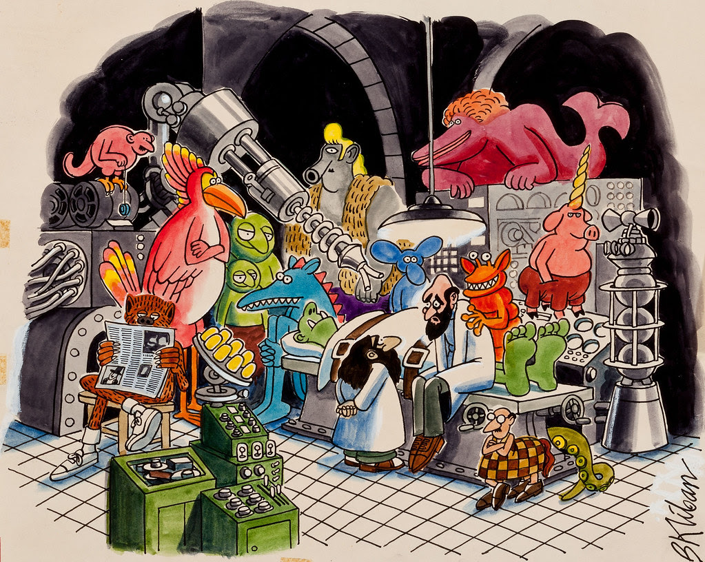"Bernard Kliban - ""I Spend Twenty Seven Years Making Monsters and What Does it Get Me?...A Room Full of Monsters!"", Playboy cartoon illustration, page 251, June 1972"