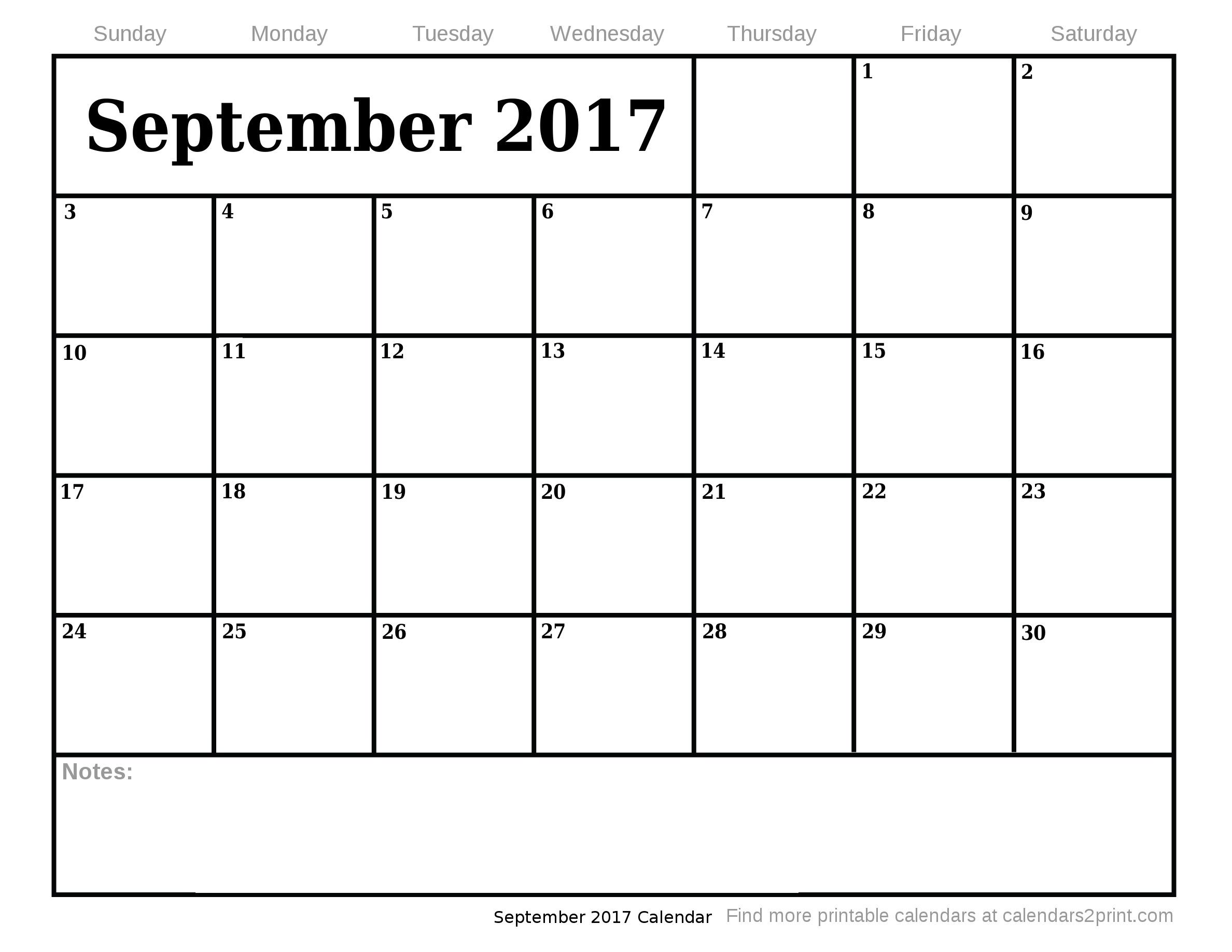 August 2017 Calendar  October 2017 Calendar »