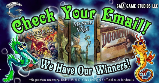 Giveaway Winners! ~ Gaia Game Studios