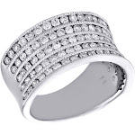 14K White Gold Round Diamond 4 Rows Ladies Concave Right Hand Cocktail Ring 1 CT