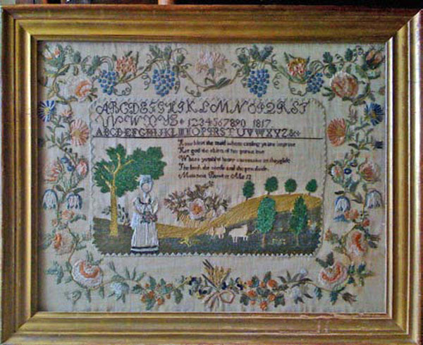 Melancia Bowker antique sampler from Carol & Stephen Huber