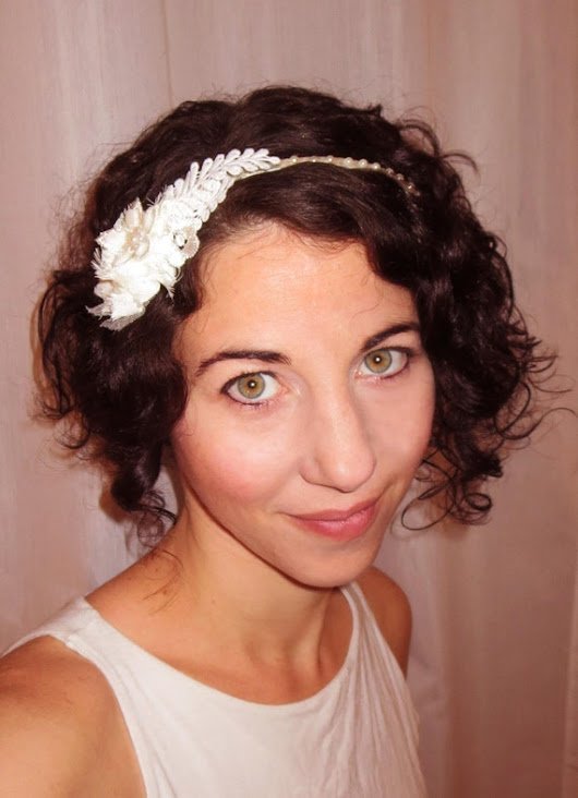 Wedding headband Great Gatsby head piece with chiffon flower