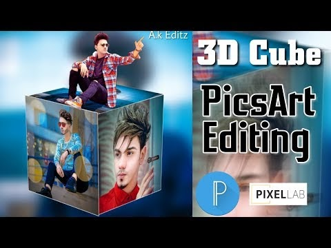 3D Cube Picsart Editing, 3D Instagram viral editing || Boy sitting on cube